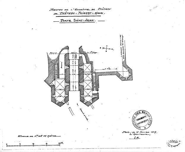 Plan des restes de l'enceinte du château : Porte Saint-Jean