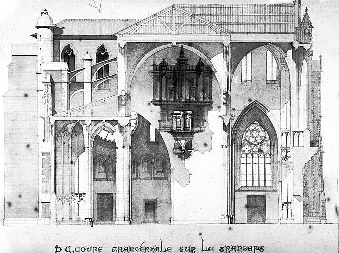 Projet d'agrandissement et de restauration : Coupe transversale sur le transept