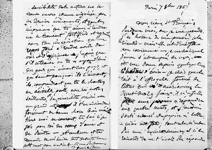 Lettre de Puvis de Chavannes au peintre Saint-François, pages 1 et 4