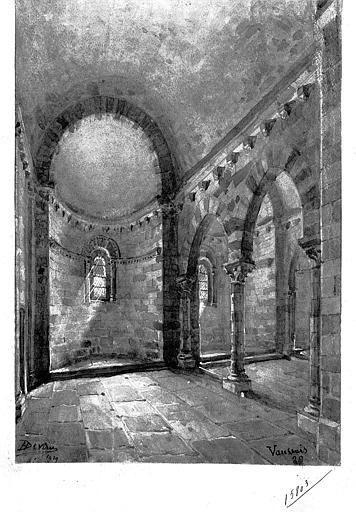 Dessin : Vue intérieure de la nef vers le choeur