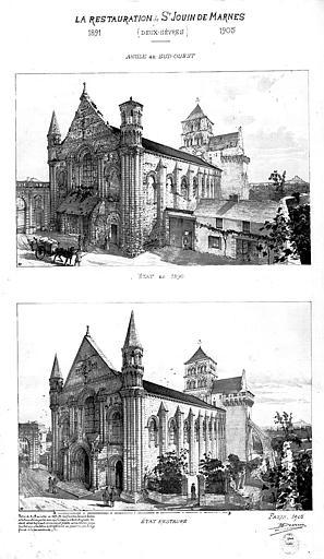 Dessin : Vue d'ensemble de l'angle sud-ouest en 1890 et en 1905