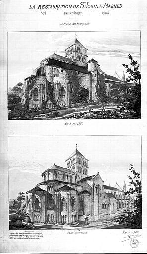 Dessin : Vue d'ensemble de l'angle nord-est en 1891 et en 1905