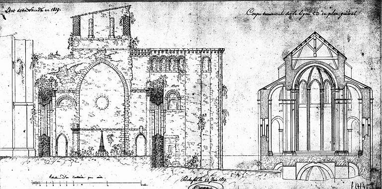 Etat de la façade en 1839 et coupe transversale