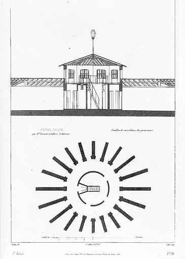 Plan et coupe du pavillon de surveillance des promenoirs