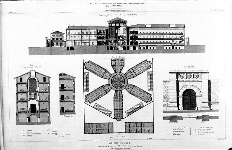 Plan du 1e étage, coupes, élévation de la porte principale
