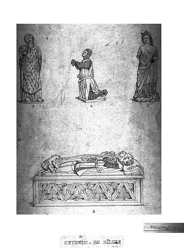 Dessin : Statues de tombeaux (gisant, priant...)