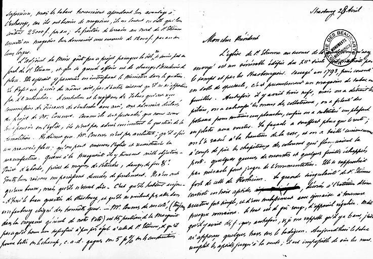 Lettre de Prosper Mérimée écrite à Strasbourg et adressée à Ludovic Vitet au sujet de l'église Saint-Etienne, pages 1 et 4