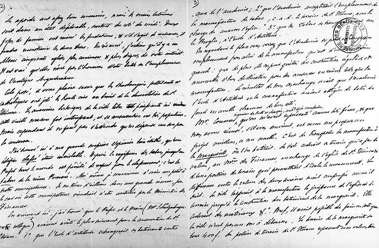 Lettre de Prosper Mérimée écrite à Strasbourg et adressée à Ludovic Vitet au sujet de l'église Saint-Etienne, pages 2 et 3
