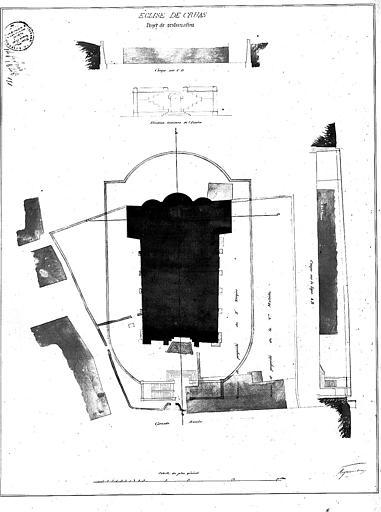 Plan d'ensemble de l'église, et coupe et élévation intérieure de l'escalier