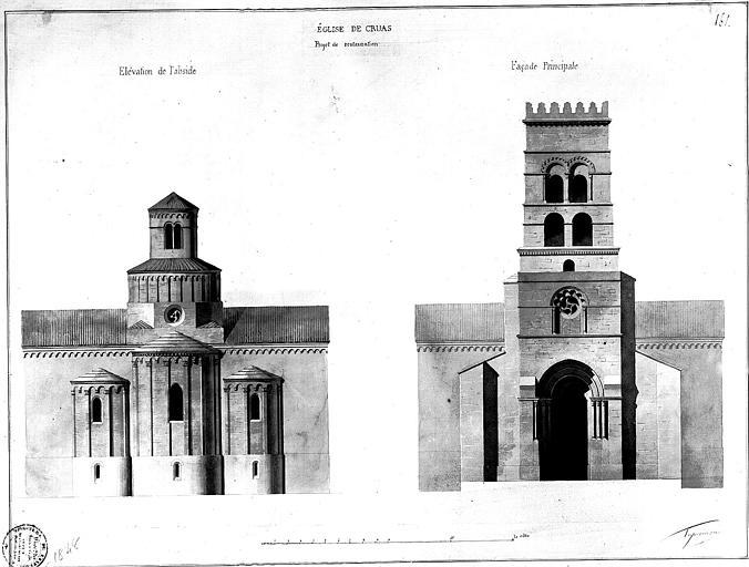 Elévations de l'abside et de la facade principale