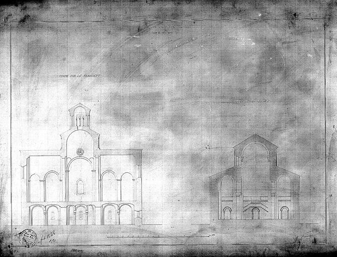 Coupe sur le transept et coupe transversale