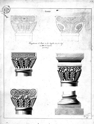 Dessin des chapiteaux et bases de colonnes de la crypte