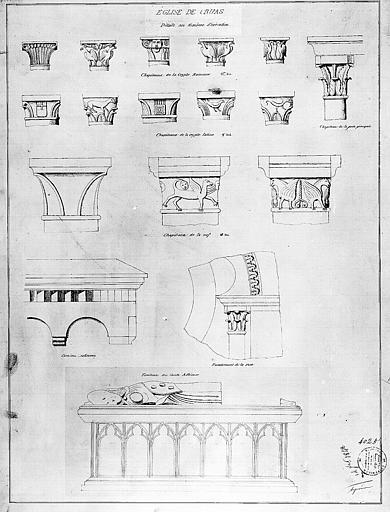 Dessin : Chapiteaux de la crypte romane et de la nef, et tombeau du comte Adhémar