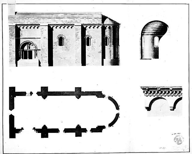 Plan, élévation de la façade sud et coupe sur l'abside