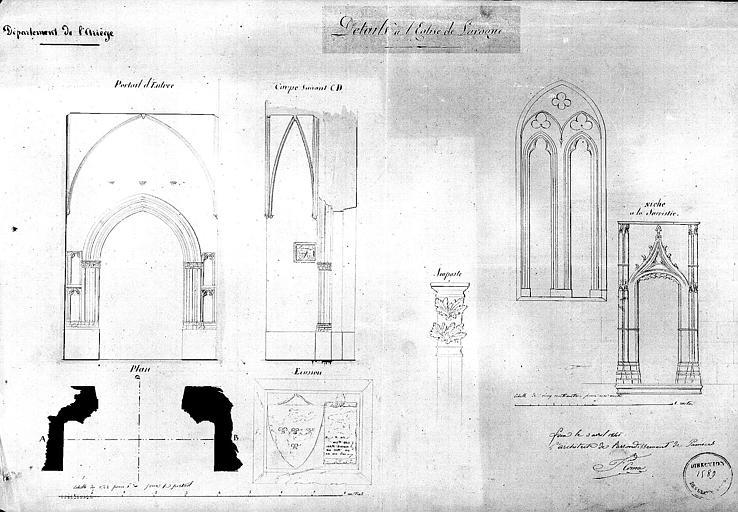 Plan du portail, coupe et détails divers
