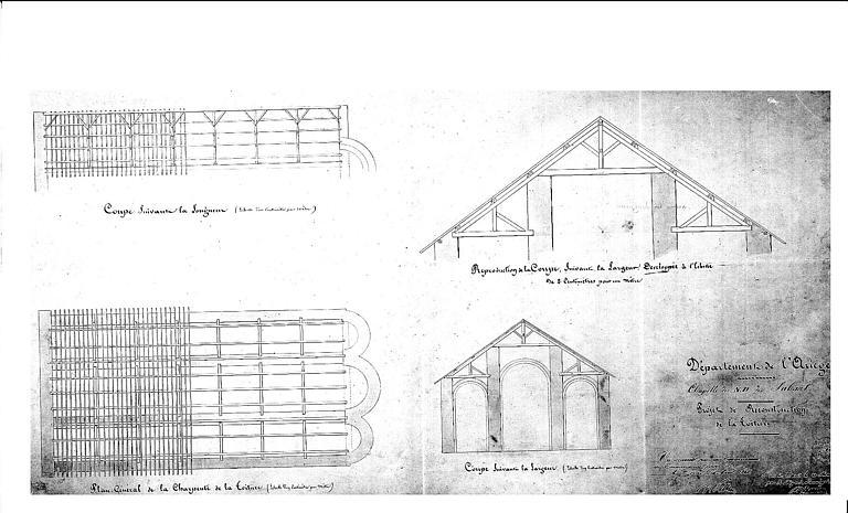 Projet de reconstruction de la toiture : Plans et coupes de la charpente