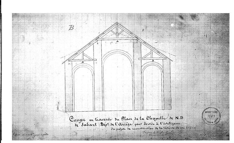 Projet de reconstruction de la toiture : Coupe transversale de l'église