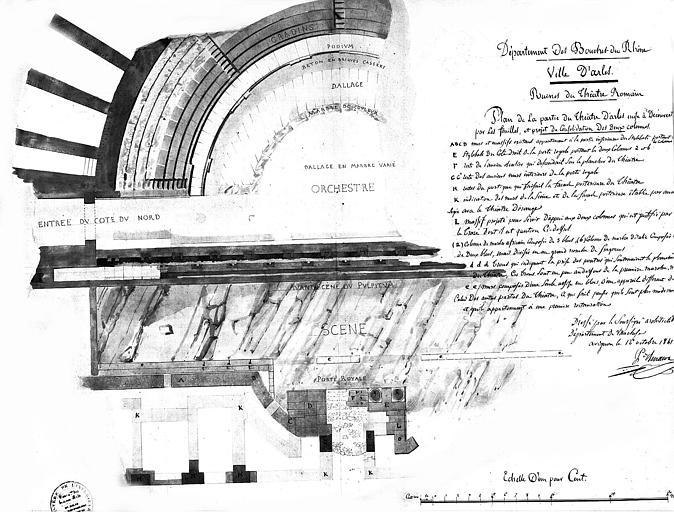 Plan de la partie du théâtre mise à découvert par les fouilles et projet de consolidation des deux colonnes
