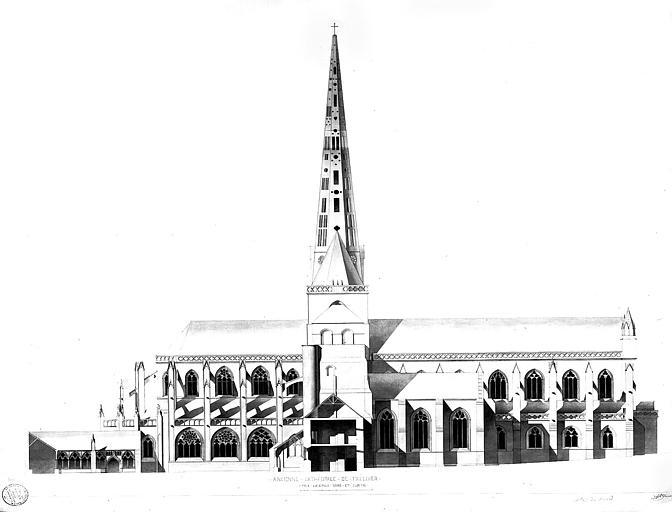 Elévation de la façade nord et cloître