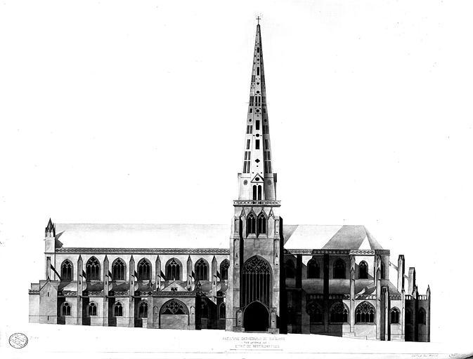 Elévation de la façade sud (état de restauration)