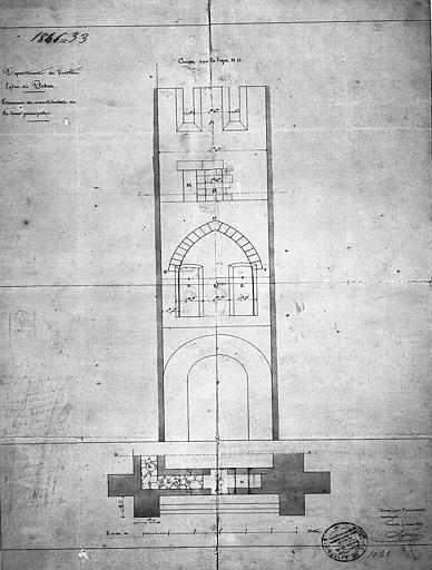 Travaux de consolidation de la tour principale : Coupe
