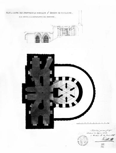 Plan et coupe des cryptes pour la restauration des peintures