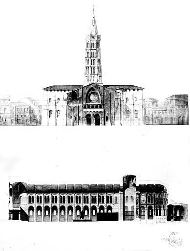 Elévation de la façade ouest et coupe longitudinale