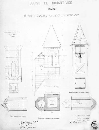 Plans, coupes et élévations de la tour-clocher