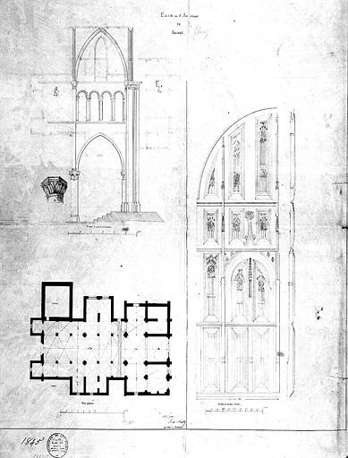 Plan général, élévation du portail et coupe d'une travée
