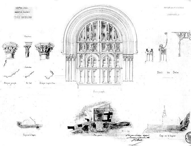Elévation de la porte principale et détails