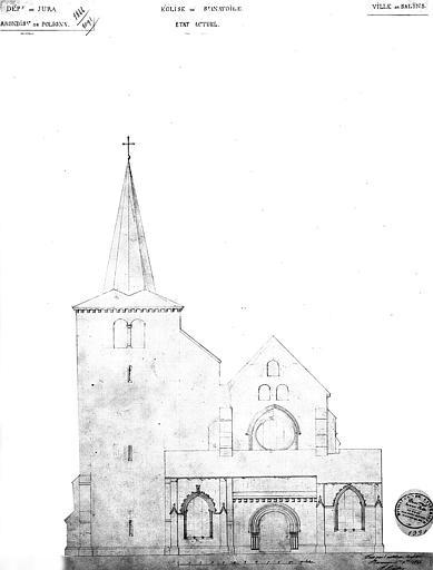 Elévation de la façade ouest (état actuel)