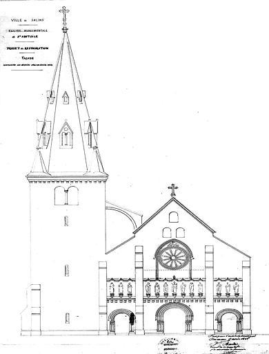 Projet de restauration (variante) : Elévation de la façade ouest