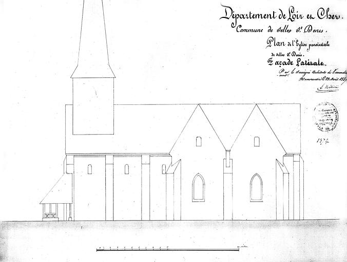 Elévation de la façade latérale sud
