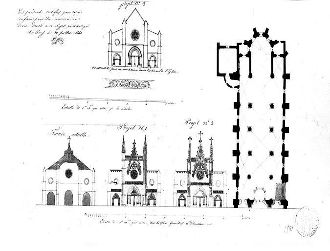 Plan et élévation de la façade : Etat actuel et projets de restauration