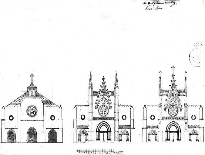 Elévation de la façade : Etat actuel et deux projets de restauration
