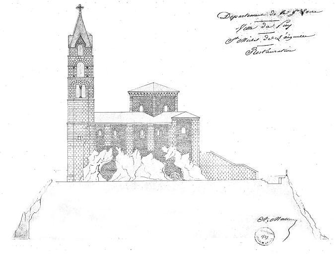 Elévation de la façade latérale sud : Projet de restauration