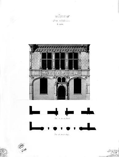 Détail d'une façade : Elévation et plan au rez-de-chaussée et au 1e étage