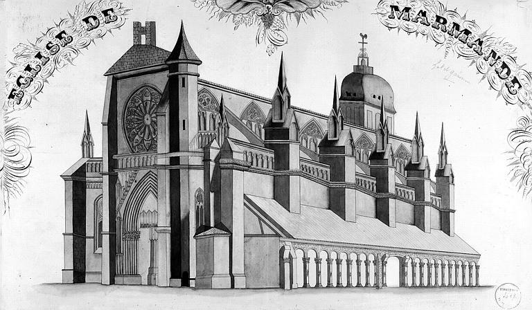Dessin en perspective de l'église vue du sud-ouest