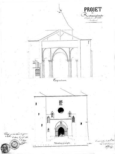 Projet de restauration : Coupe et élévation de la façade ouest