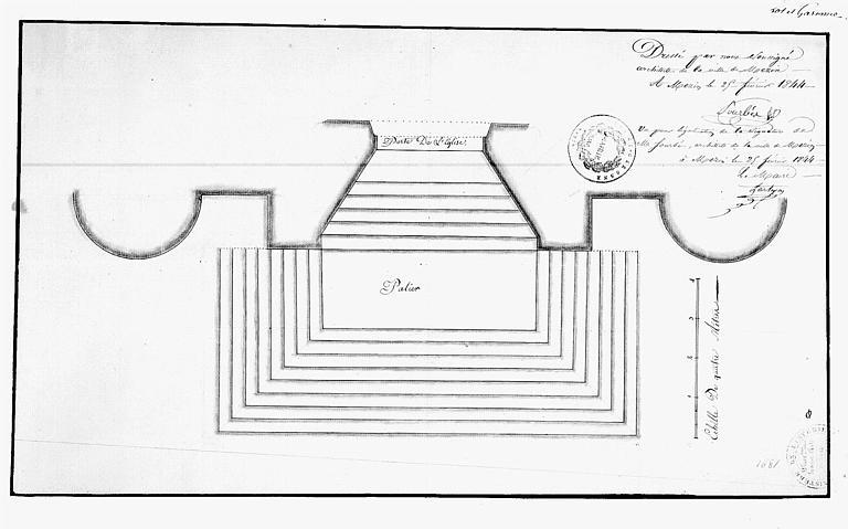 Projet de restauration : Plan du palier et des degrés de la porte