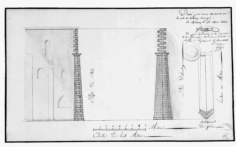 Elévation d'une façade latérale : Détail des piliers