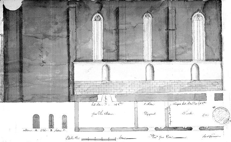 Elévation partielle de la façade latérale et plan au sol