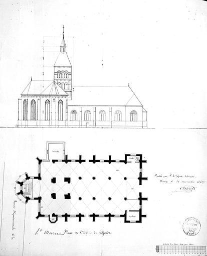 Plan et élévation de la façade nord