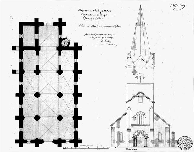 Plan et élévation de la façade ouest