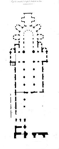 Projet de restauration : Plan de l'église et des maisons bâties dans la partie détruite