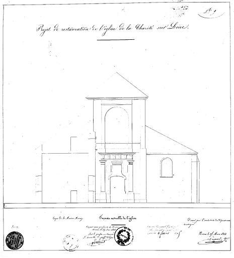 Projet de restauration : Elévation de la façade occidentale (état actuel)