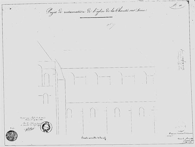 Projet de restauration : Elévation de la façade actuelle de la nef
