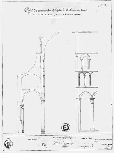 Projet de restauration : Détail de l'élévation de la 1e arcade et coupe du bas-côté