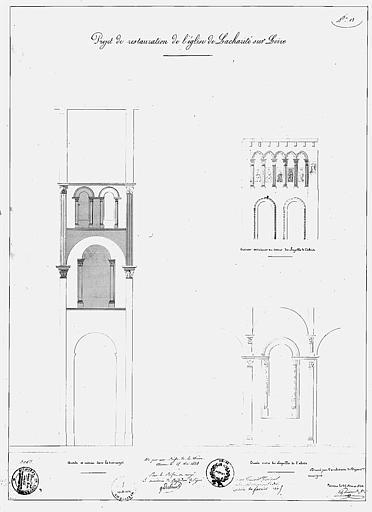 Projet de restauration : Dessin d'arcades de la croisée du transept et des chapelles de l'abside