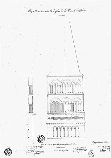 Projet de restauration : Dessin d'une des faces de la partie supérieure de la tour-clocher